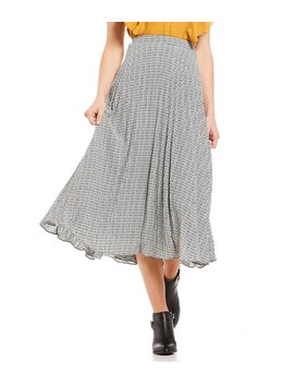 Pleated Houndstooth A Line Midi Skirt by 1. State