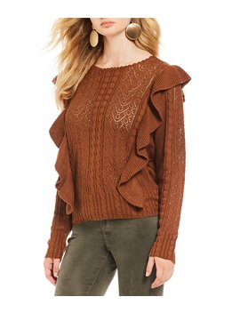 Cable & Pointelle Scalloped Round Neck Ruffle Sweater by Chelsea & Violet
