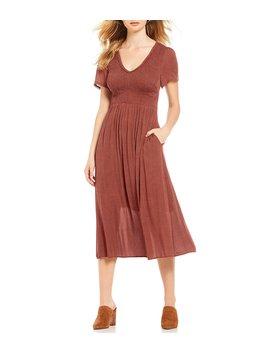 smocked-a-line-dot-midi-dress by first-monday