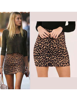 New Womens Leopard Print Stretch Ladies Short Mini Skirts Size 6 16 by Ebay Seller