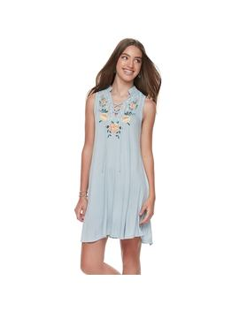 Juniors' Living Doll Lace Up Floral Swing Dress by Kohl's