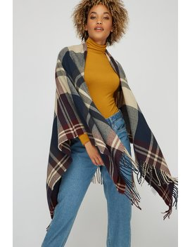 Checkered Knit Frayed Hem Scarf by Urban Planet