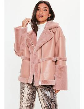 Pink Faux Fur Aviator Jacket by Missguided