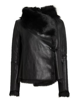 Black Shearling Jacket by Michelle Mason