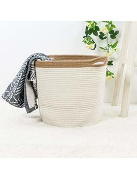 """Goodpick 15"""" X 12.6"""" X 11.8"""" Large Cotton Rope Basket   Woven Storage Basket   Baby Bins For Diapers, Laundry Organization, Toys, Towels, Blankets, Nursery  ... by Goodpick"""