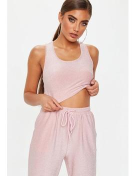 Pink Glitter Ribbed Crop Top by Missguided