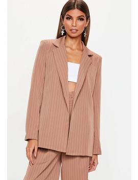 Rust Pinstripe Boyfriend Blazer by Missguided