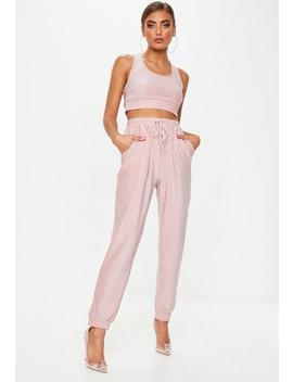 Pink Glitter Joggers by Missguided