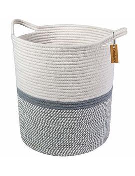 Goodpick Large Cotton Rope Basket 14.2'' X 13.4'' X 16.2''  Baby Laundry Basket Tall Woven Basket Blanket Nursery Bin by Goodpick