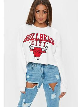 White Bullhead City Graphic Cropped Sweatshirt by Missguided