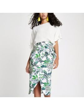 Blue Floral Tie Front Pencil Skirt by River Island