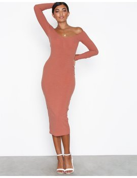 Off Shoulder Rib Dress by Nly One