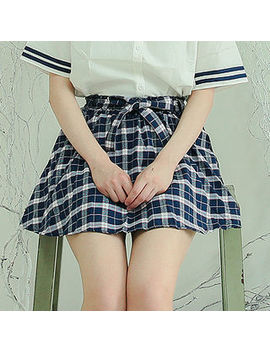 Sechuna   Inset Shorts Plaid Miniskirt With Sash by Sechuna
