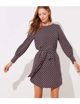 petite-mosaic-tie-waist-shirtdress by loft