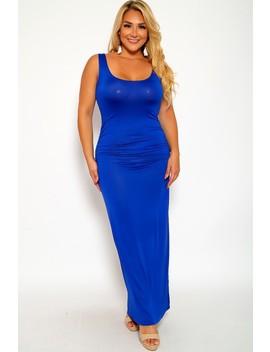 Sexy Royal Blue Sleeveless Maxi Plus Size Party Dress by Ami Clubwear