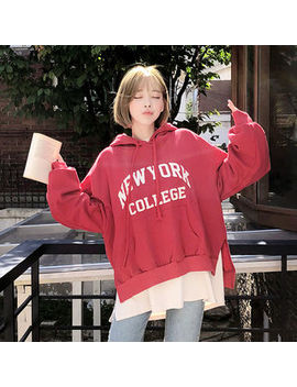 "Chuu   ""New York"" Text Appliqué Hoodie by Chuu"