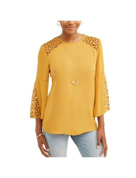 Women's Lace Detail Fluted Sleeve Blouse by Lifestyle Attitude