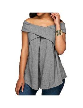 Dymade Women Sexy Off The Shoulder Criss Cross Tunic T Shirt Tee Top by Dymade