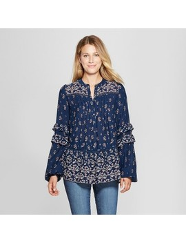 Women's Floral Print Long Sleeve Border Print Peasant Top   Knox Rose™ Blue by Knox Rose™