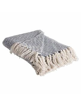 """Dii Rustic Farmhouse Cotton Diamond Blanket Throw With Fringe For Chair, Couch, Picnic, Camping, Beach, & Everyday Use , 50 X 60""""   Double Diamond French Blue by Dii"""