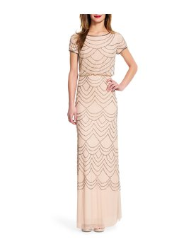 Beaded Short Sleeve Blouson Gown by Adrianna Papell
