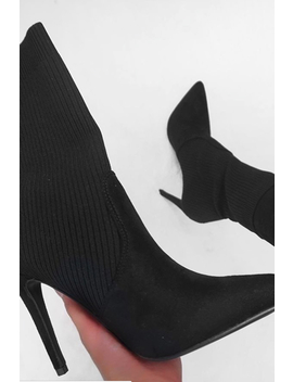 Black Knitted Pointed Toe Sock Boots   Masey by Rebellious Fashion