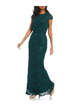 Sequin Lace Cap Sleeve Blouson Gown by Js Collections