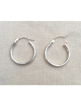 "Hoops 20mm, Sterling Silver, Click Bar Hoops, Rounded Tube Sterling Hoop Earrings, 7/8"" Sterling Hoop Earrings, Hoops For Charms by Shalom Jewelry"
