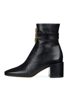 4 G Logo Leather Block Heel Ankle Boots by Givenchy