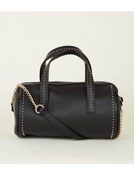Black Leather Look Studded Bowler Bag by New Look
