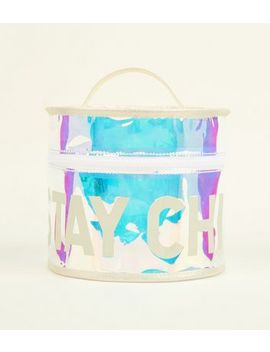 Clear Iridescent Tinted Cosmetic Bag by New Look