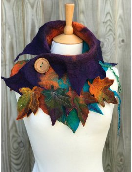 Custom Made Scarf  Autumn Scarf, Scarf Woman, Autumn Accessory, Boho Accessory, Gift For Her, Felt Scarf, Pixie Clothing, by Folkowl