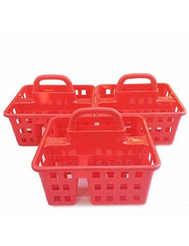 Plastic Caddies With Handle Red 3 Compartment Storage Baskets Tote Containers Cubes Square Slotted Locker Book Toy Organizer Boxes For Kids, Organizing Container In Bulk Set Of 3 Pack by Plastic Caddies