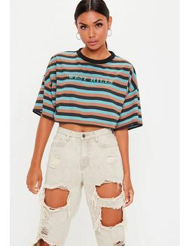 Blue West Hills Embroidered Stripe Crop Top by Missguided