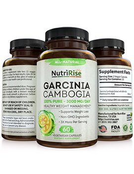 100 Percents Pure Garcinia Cambogia Extract With Hca For Fast Fat Burn. Best Appetite Suppressant & Carb Blocker. Natural, Clinically Proven... by Nutri Rise