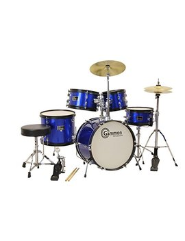 Gammon 5 Piece Junior Starter Drum Kit With Cymbals, Hardware, Sticks, & Throne   Metallic Blue by Gammon Percussion
