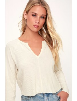 Lacefield Cream Notched Long Sleeve Sweater Top by Lulus Basics