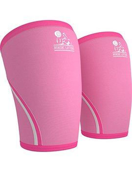 Knee Sleeves (1 Pair) Support & Compression For The Best Squats, 7mm Neoprene   By Nordic Lifting (L, Pink) by Nordic Lifting