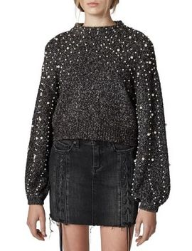 Faux Pearl Embellished Sweater by Blank Nyc