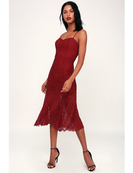 Gypsy Rose Wine Red Lace Midi Dress by 4 Si3 Nna