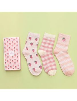 Socka   3 Pairs: Strawberry Print Socks by Socka