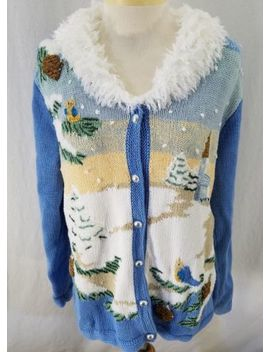 Storybook Knits Womens Cardigan Winter Scene Blue Embroidery Fluffy Collar Mediu by Storybook Knits