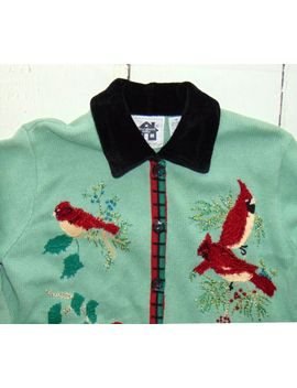 Storybook Knits Holiday Cardigan Sweater Christmas Cardinals Birds Sz. M L by Ebay Seller