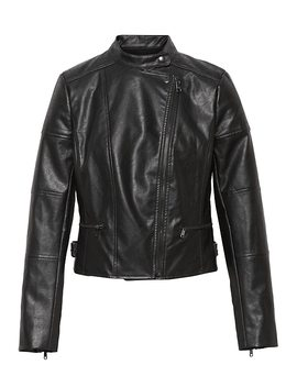 Petite Vegan Leather Moto Jacket by Banana Repbulic