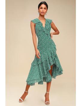 Be About You Green Floral Print Asymmetrical Midi Dress by C/Meo