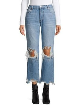 Maggie Straight Leg Distressed Jeans by Free People