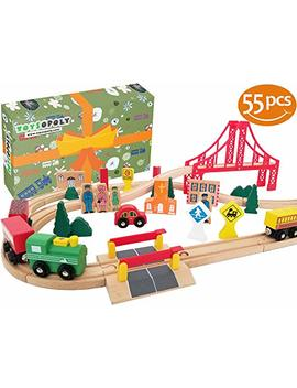 Flash Sale | Wooden Train Tracks, Deluxe 55 Pcs Set With 3 Destination Fits Thomas, Brio, Ikea, Chuggington, Imaginarium, Melissa And Doug   Best Gifts For Kids Toddler Boys And Girls by Toys Opoly