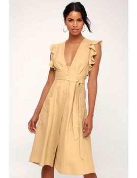 Carolina Beige Button Front Midi Dress by Astr The Label