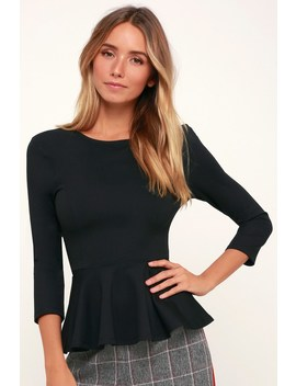 Pep Up Black Three Quarter Sleeve Peplum Top by Lulus