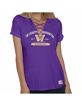 Bag2 School University Of Washington Huskies Ncaa Women's Lace Up Tee Shirt by Bag2 School